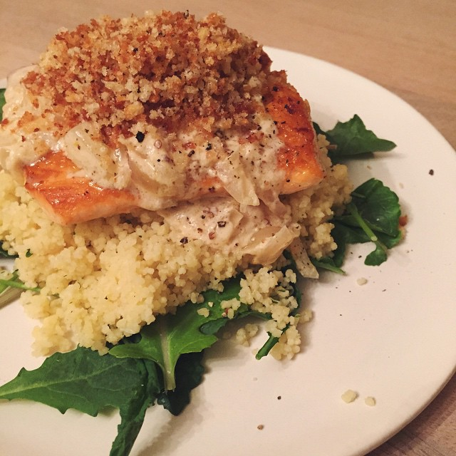 pan-roasted_salmon_with_Dijon_cream_sauce_and_brown_butter_breadcrumbs__hkeats__sundaysuppers
